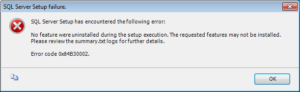 SQL Server Uninstall error